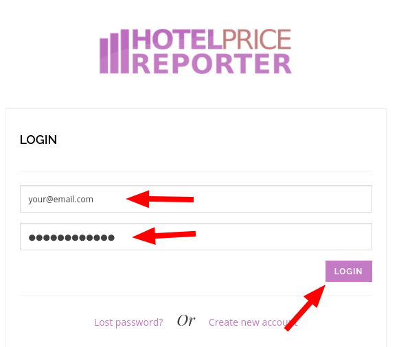 Login to the Hotel Price Reporter dashboard