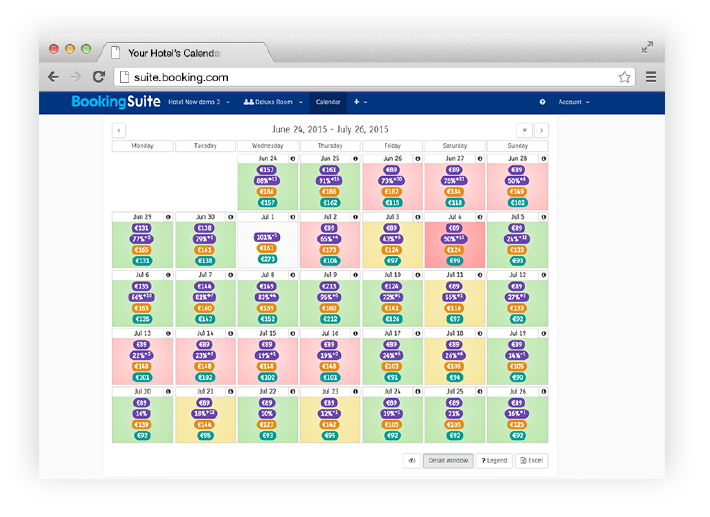 A screenshot of the BookingSuite rate manager
