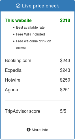 A price check widget showing the benefits of booking direct and user reviews in a single window