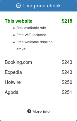 A price check widget showing live price comparison data between OTAs and listing the benefits of booking direct