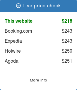 A simple price check widget showing live price comparison between OTAs and the hotel's own website